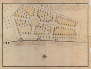 6eme plan des murs, tours, fossé et remparts de la ville de Toulouse depuis la porte Montoulieu jusqu'à celle de Montgaillard (1778-1779). Musée du Vieux Toulouse.